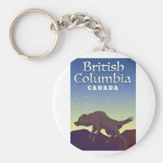 British Columbia Canada Wild Wolf poster Basic Round Button Keychain