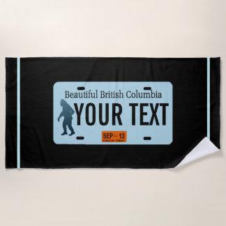 British Columbia Sasquatch License Plate Beach Towel