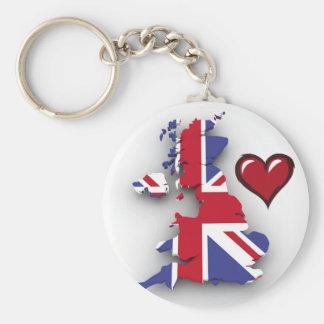 British country flag red heart basic round button keychain