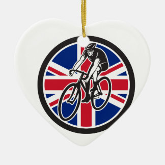 British Cyclist Cycling Union Jack Flag Icon Ceramic Ornament