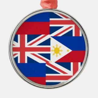 BRITISH-FILIPINO Silver-Colored ROUND ORNAMENT