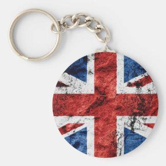 BRITISH FLAG BASIC ROUND BUTTON KEYCHAIN