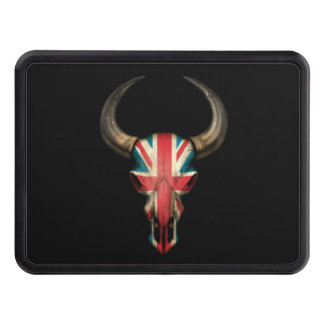 British Flag Bull Skull Tow Hitch Cover