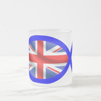 British Flag Christian Fish Symbol Frosted Glass Mug