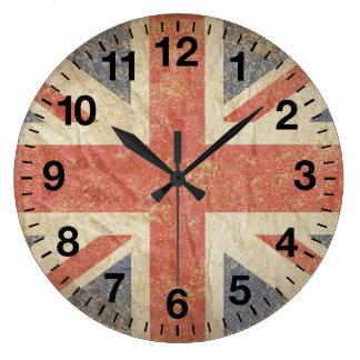 British Flag Distressed Large Clock