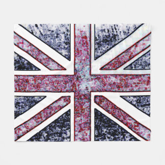 British Flag Distressed Look Fleece Blanket