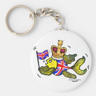 British Flag Fish wearing a crown funny cartoon Basic Round Button Keychain