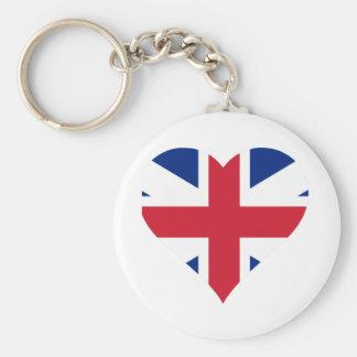 British Flag Heart Basic Round Button Keychain