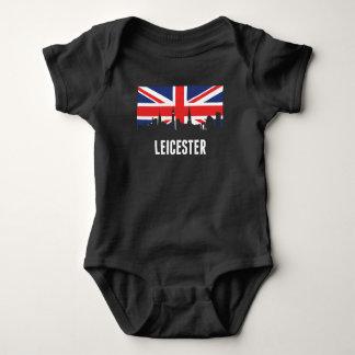 British Flag Leicester Skyline Baby Bodysuit