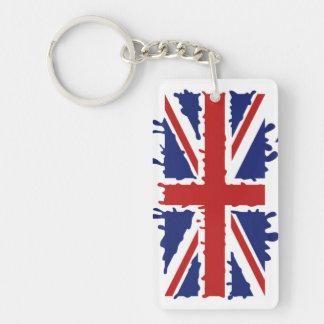 British flag paint splash Double-Sided rectangular acrylic keychain