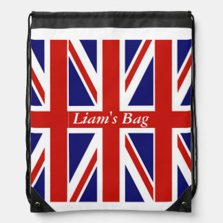 British Flag Personalized Drawstring Backpack