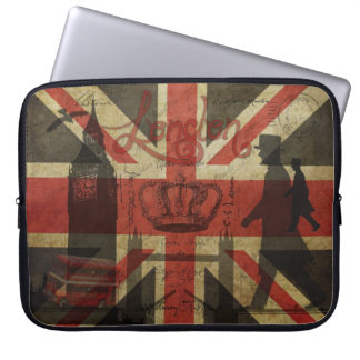 British Flag, Red Bus, Big Ben & Authors Laptop Computer Sleeves