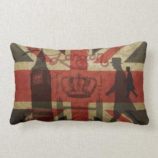 British Flag, Red Bus, Big Ben & Authors Lumbar Pillow