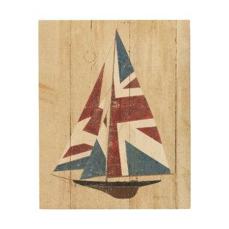 British Flag Sailboat 4 Wood Print