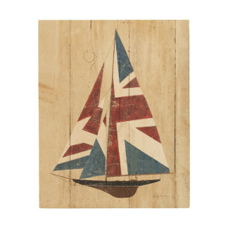 British Flag Sailboat Wood Wall Decor