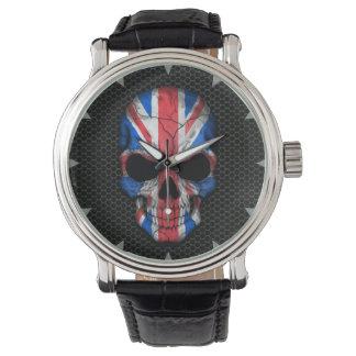 British Flag Skull on Steel Mesh Graphic Watch