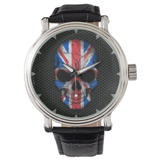 British Flag Skull on Steel Mesh Graphic Wristwatches