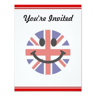 "British Flag Smiley face 4.25"" X 5.5"" Invitation Card"