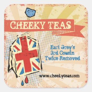 British flag teabag hand blended teas label