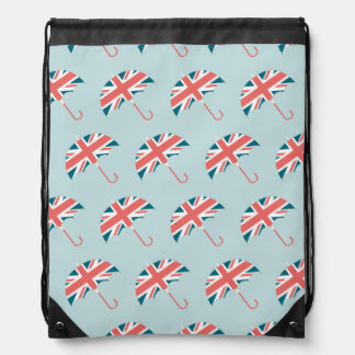 British Flag Umbrella Pattern Drawstring Bag