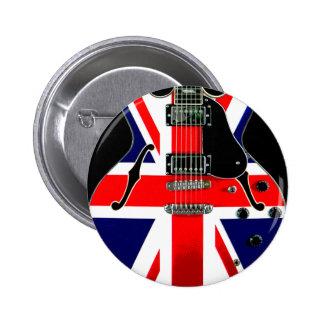 British Flag Union Jack Guitar Pinback Button