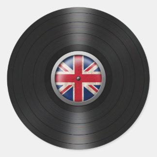 British Flag Vinyl Record Album Graphic Round Sticker