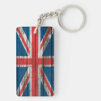 British Flag with Rough Wood Grain Effect Double-Sided Rectangular Acrylic Keychain