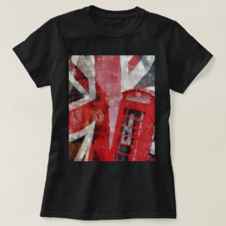 British flag with telephone booth t-shirt