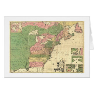 British French America Map 1755 Card