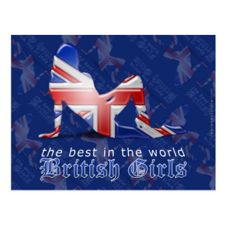 British Girl Silhouette Flag Post Card