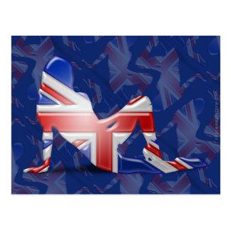 British Girl Silhouette Flag Postcard