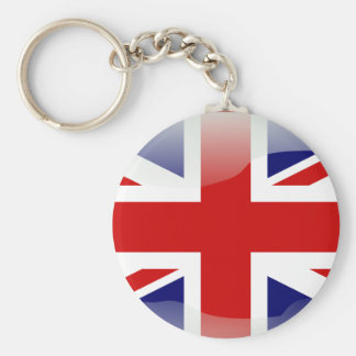 British glossy flag basic round button keychain