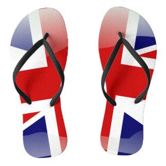 British glossy flag flip flops