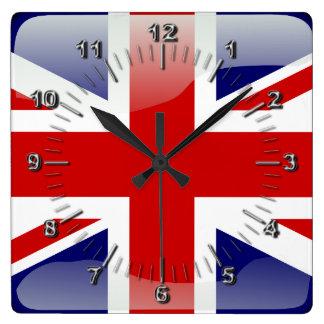 British glossy flag square wall clock