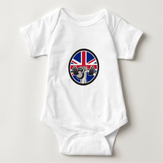 British Hand Lift Barbell Kettlebell Union Jack Fl Baby Bodysuit
