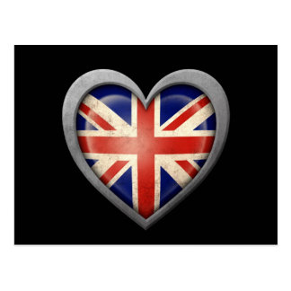British Heart Flag with Metal Effect Postcard