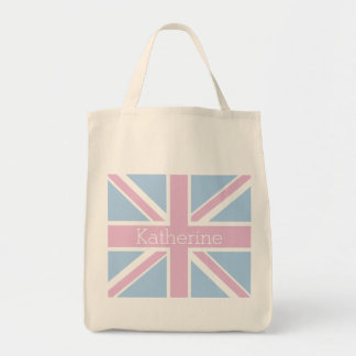 British Inspired Pink and Blue Union Jack Tote Bag