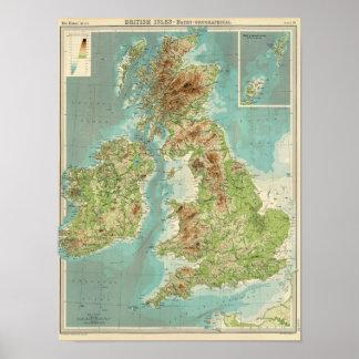 British Isles bathyorographical map Poster