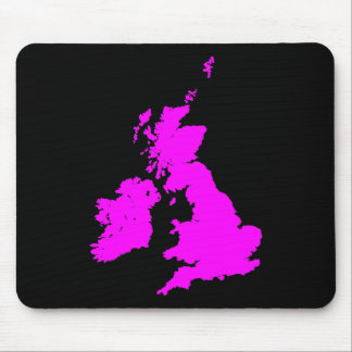 British Isles - Magenta on Black Mouse Pad