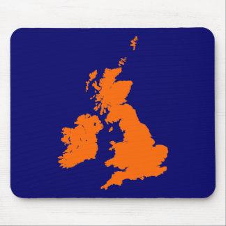 British Isles - Orange on Dark Blue Mouse Pad