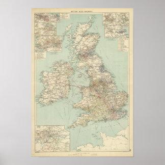 British Isles railways Poster