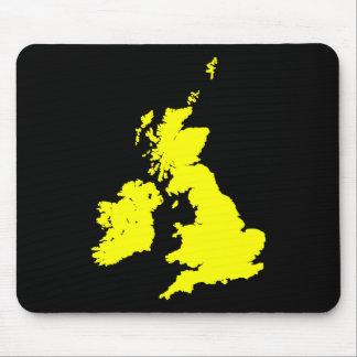 British Isles - Yellow on Black Mouse Pad