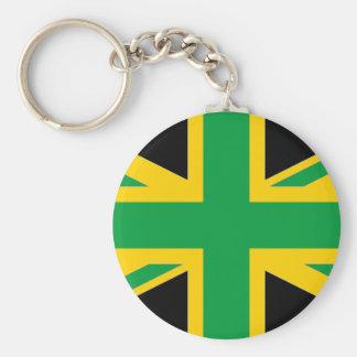 British - Jamaican Union Jack Basic Round Button Keychain