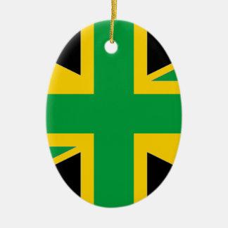 British - Jamaican Union Jack Ceramic Oval Ornament