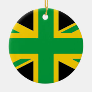 British - Jamaican Union Jack Round Ceramic Ornament