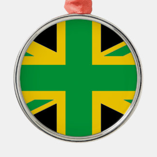 British - Jamaican Union Jack Silver-Colored Round Ornament