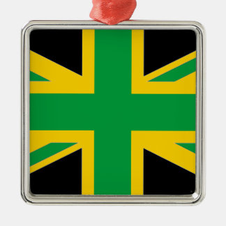 British - Jamaican Union Jack Silver-Colored Square Ornament