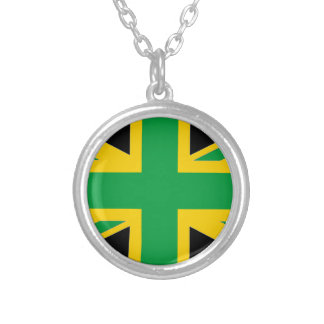 British - Jamaican Union Jack Silver Plated Necklace
