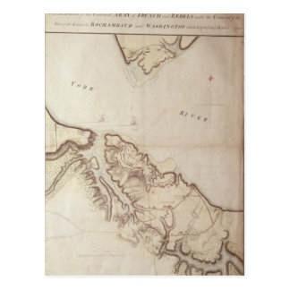 British map of the Siege of Yorktown, 1781 Postcard