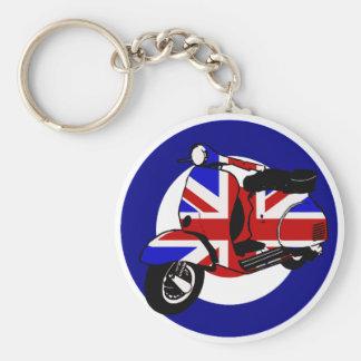 British mod scooter on target basic round button keychain